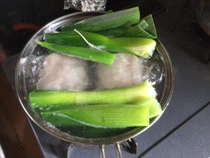 鍋に青ネギ
